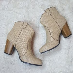 Qupid Woven Style Taupe Round Toe Booties